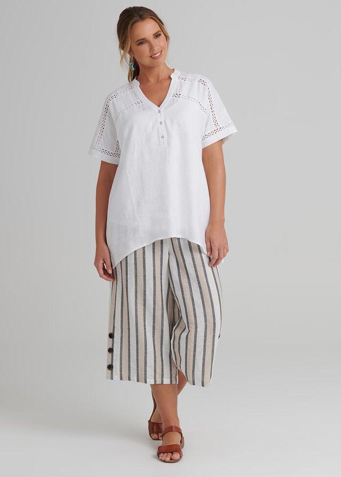 Lace Trim Linen Top, , hi-res