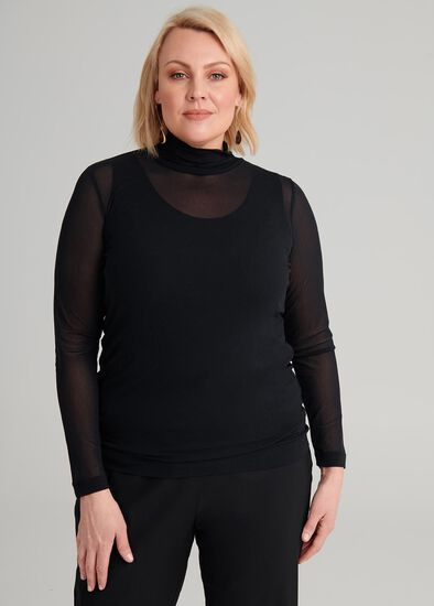 Hi-neck Fine Mesh Top