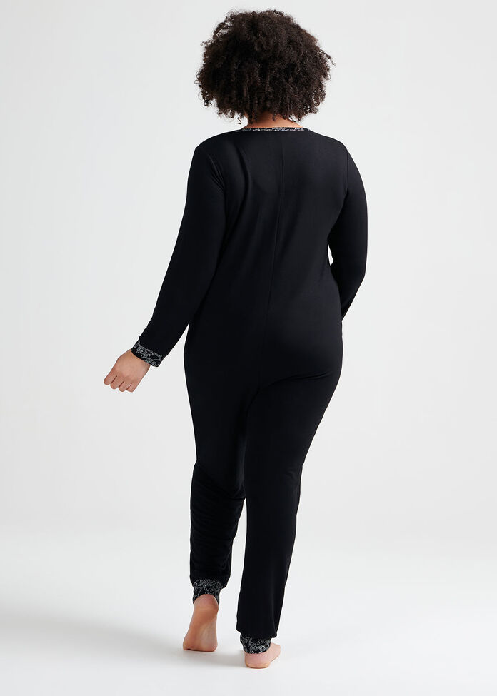 Black Bamboo Lounge Onesie, , hi-res