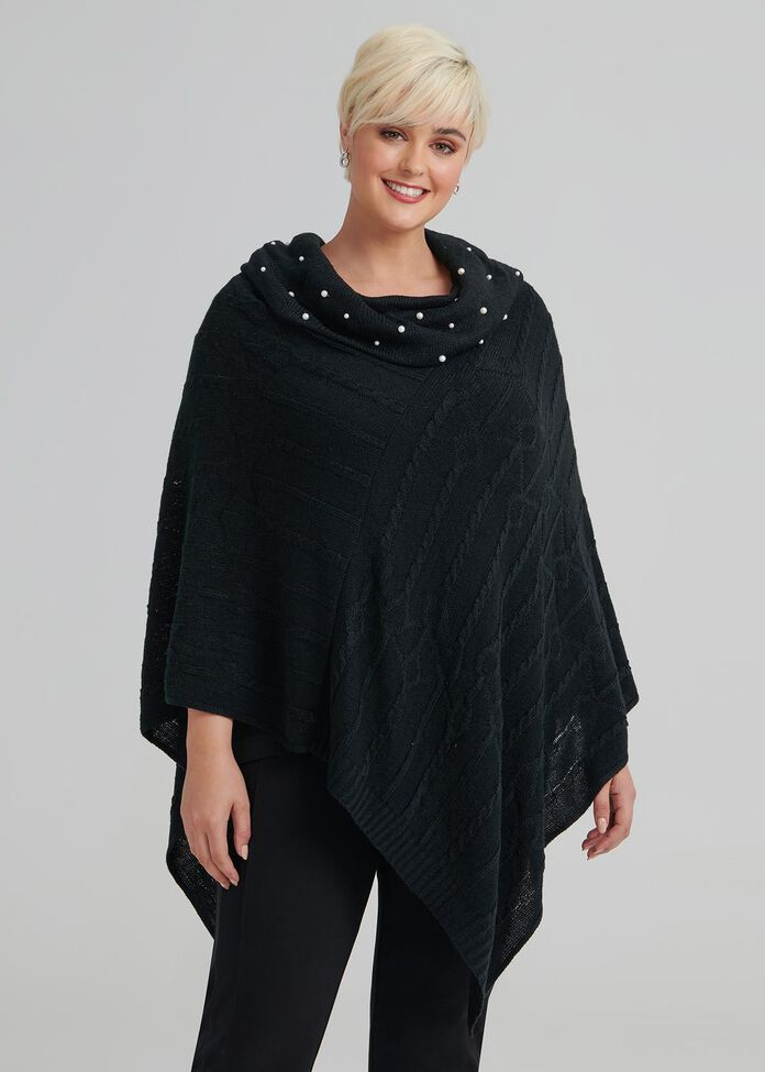 Pearl Cable Poncho, , hi-res