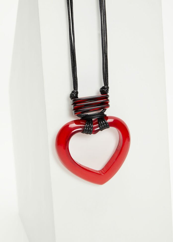 Red Resin Heart Necklace, , hi-res