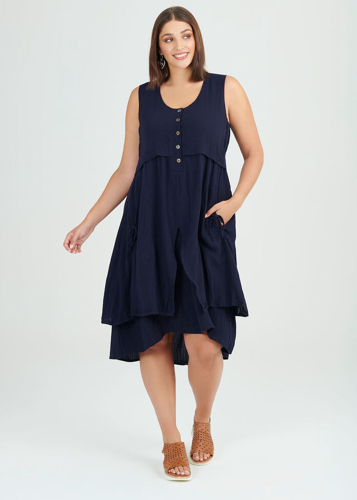 Midnight Layer Viscose Dress, , hi-res