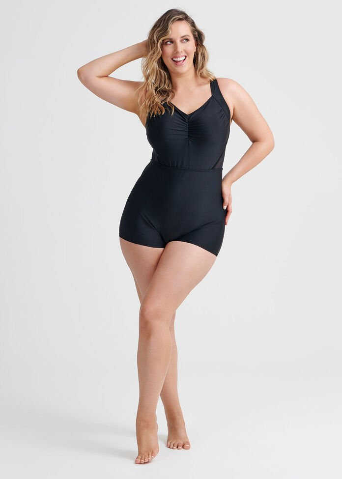 Mesh Boyleg Swimsuit, , hi-res