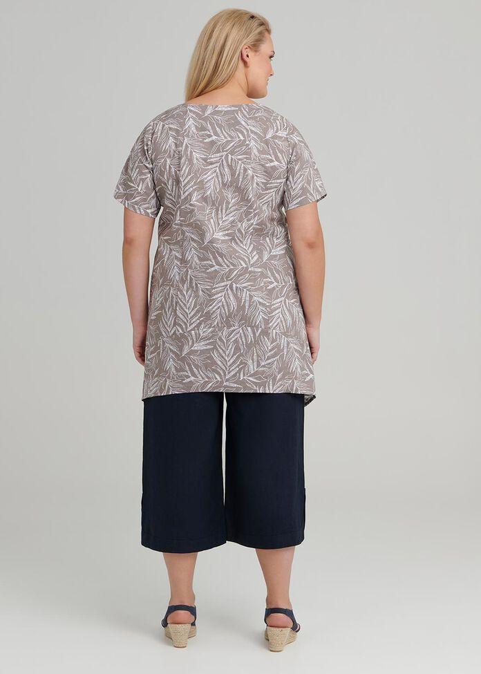 Sketchy Leaf Linen Tunic, , hi-res
