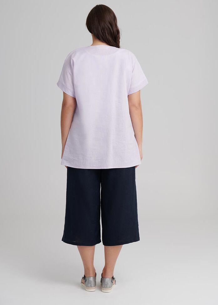 Textured Linen Top, , hi-res