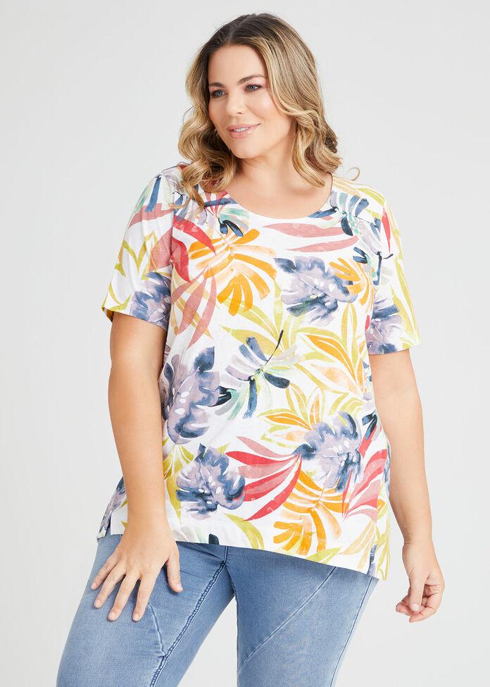 Linen Blend Tropics Print Top, , hi-res