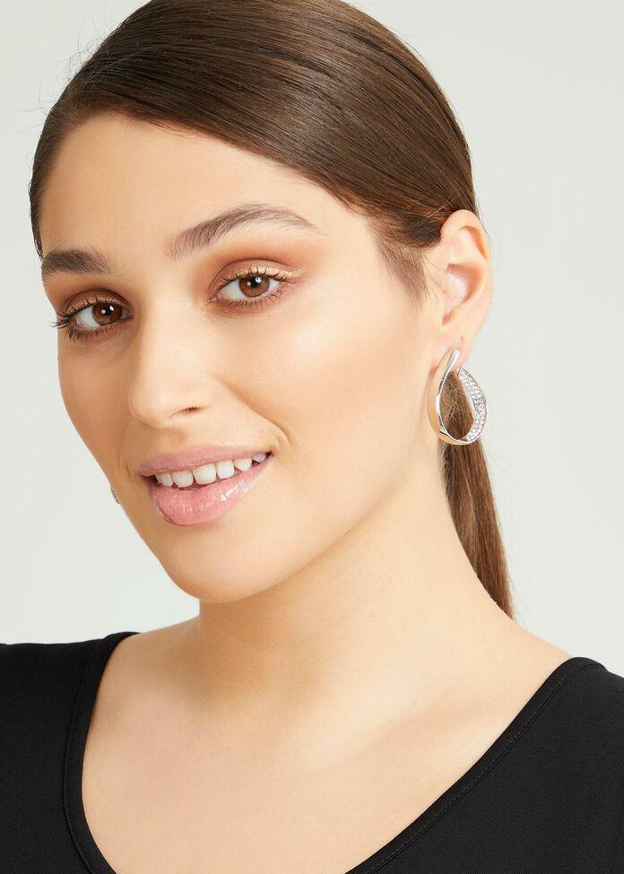 Crystal Loop Silver Earrings, , hi-res