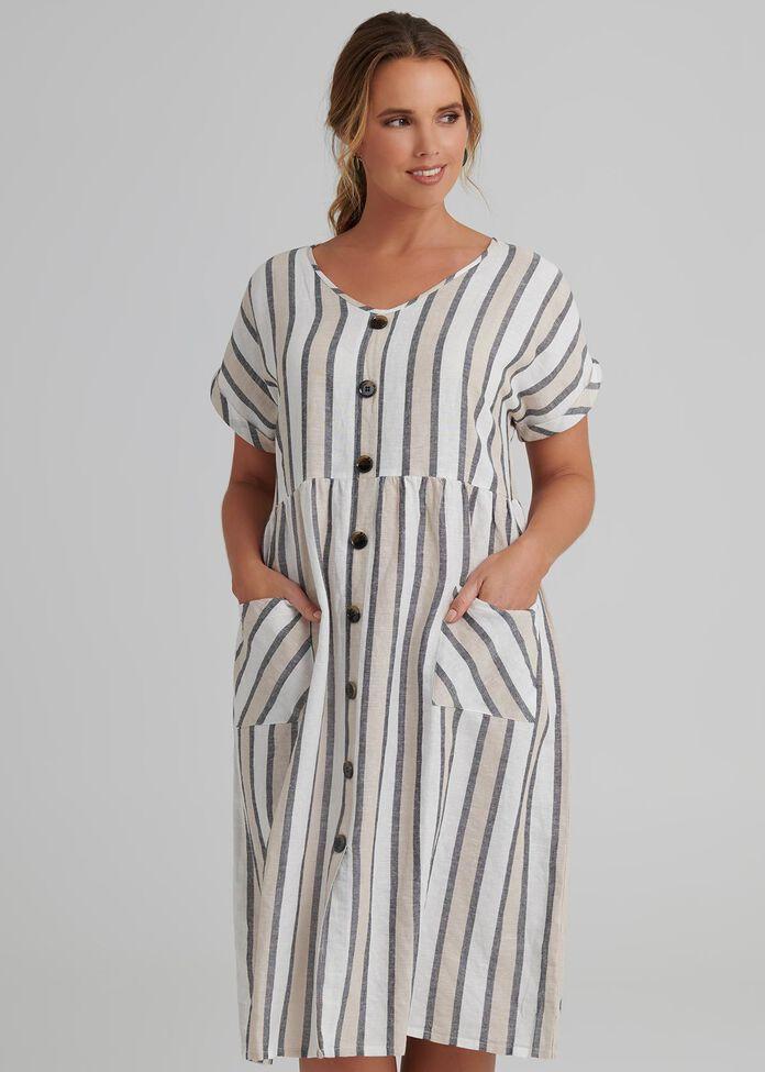 Stripe Linen Dress, , hi-res