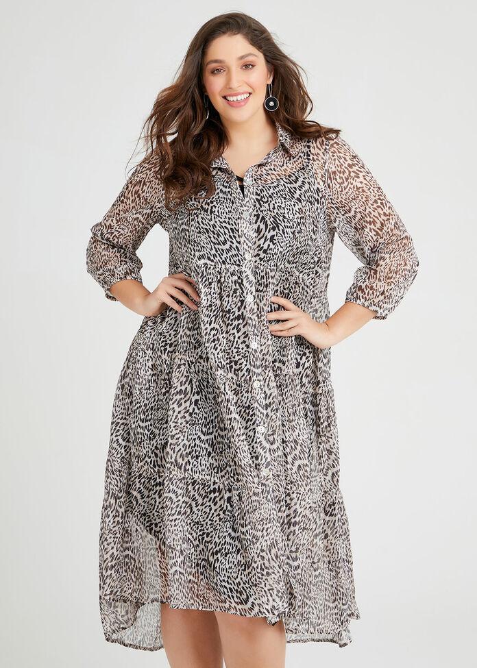 Wild Animal Boho Shirt Dress, PRINT, hi-res