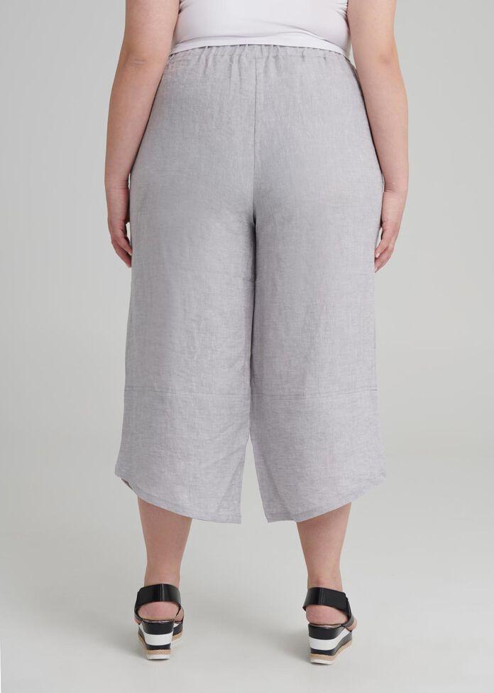 Aj Linen Crop Pant, , hi-res