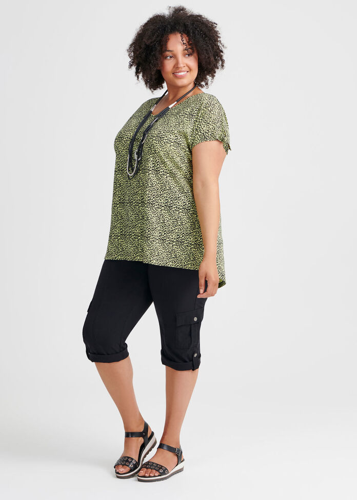 Linen Knit Cheetah Top, , hi-res