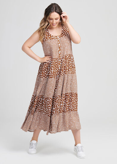 Natural Leopard Mix Dress