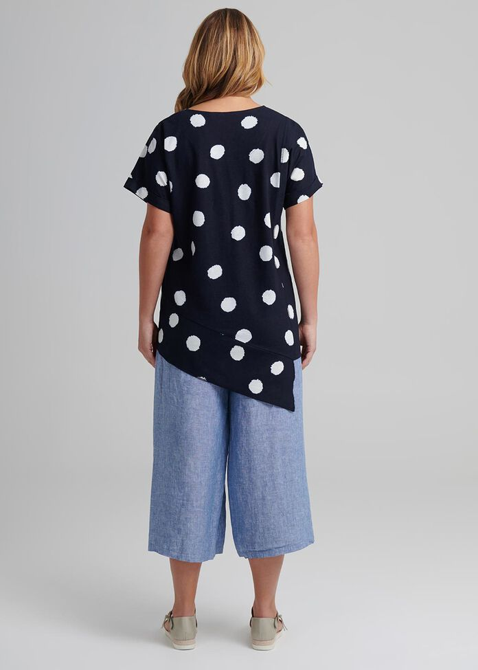 Shibori Spot Linen Top, , hi-res