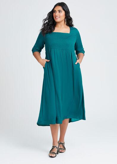 Luxe Grecian Shirring Dress
