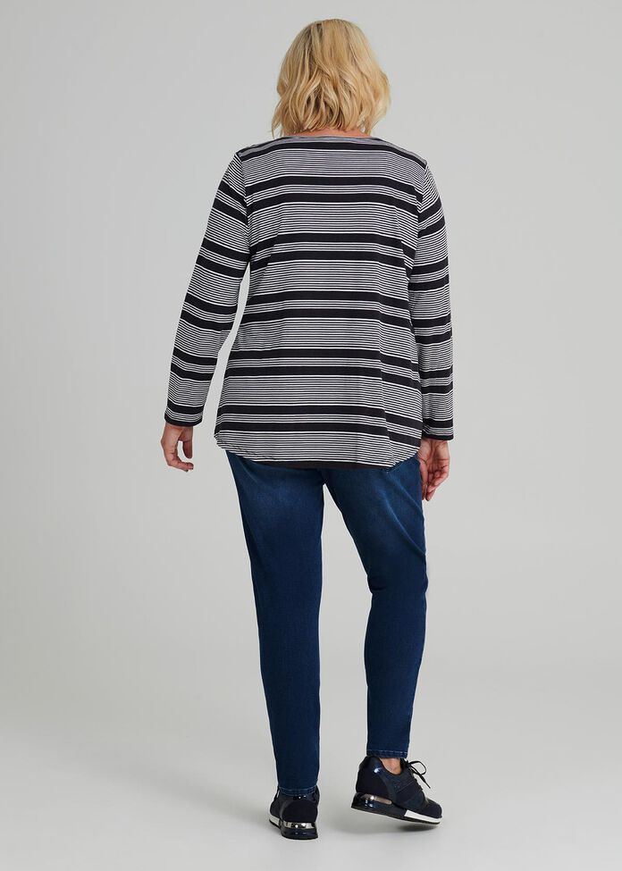 Easy Wear Ls Stripe Top, , hi-res