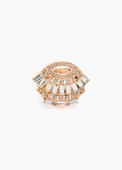 Gold Deco Crystal Ring