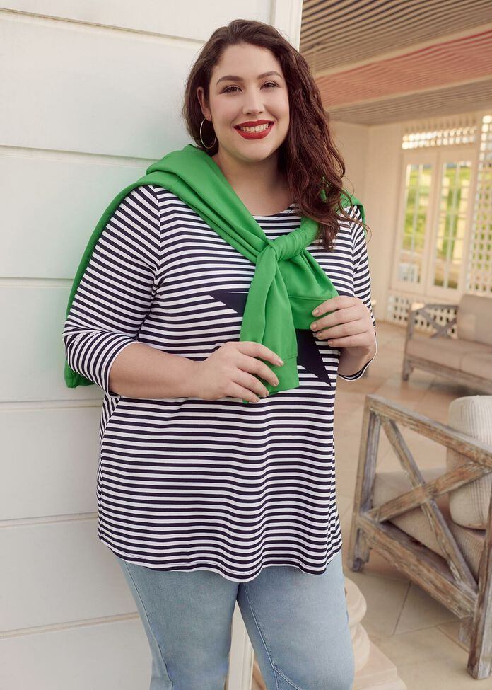 Stripe Casual Weekend Outfit, , hi-res