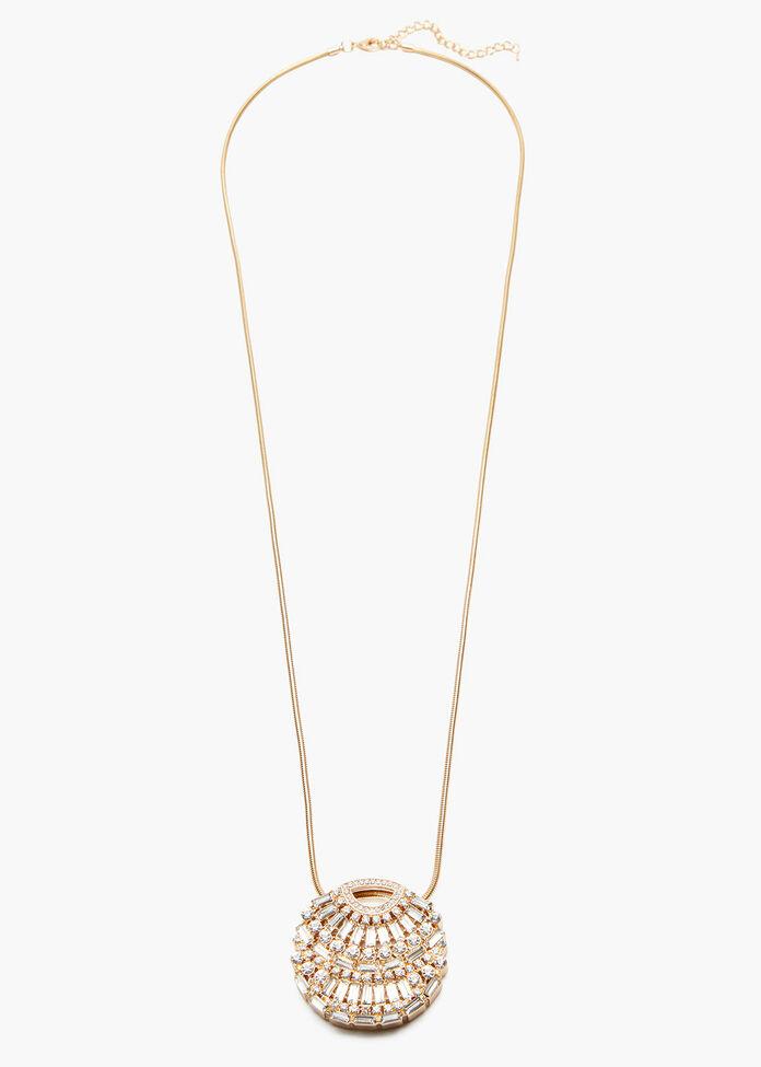 Gold Deco Crystal Necklace, , hi-res