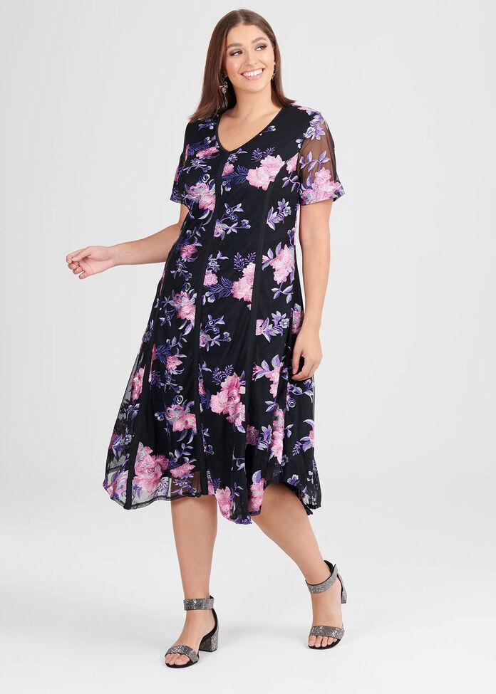 Moonlight Embroidered Dress, , hi-res
