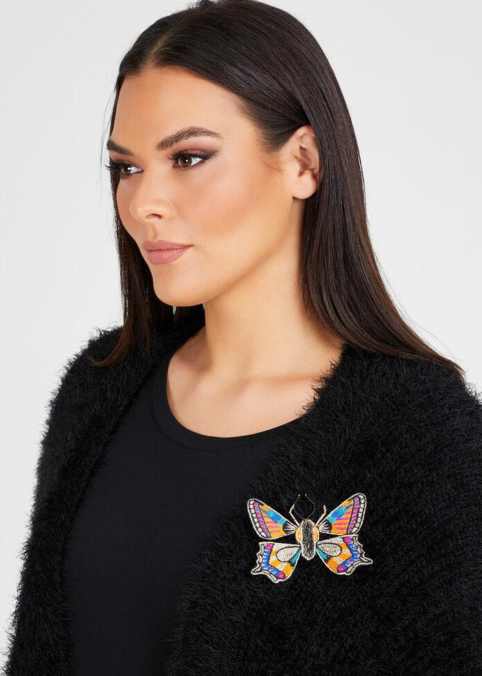 Lurex Butterfly Brooch, , hi-res