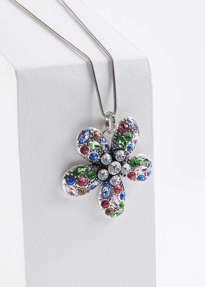 Crystal Flower Necklace, , hi-res