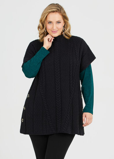 Cable Knit Button Tunic
