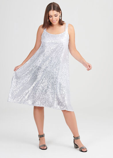 Argent Sequin Cocktail Dress