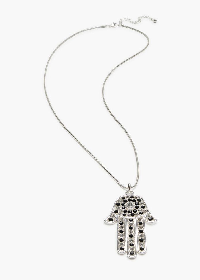 Hamsa Hand Necklace, , hi-res