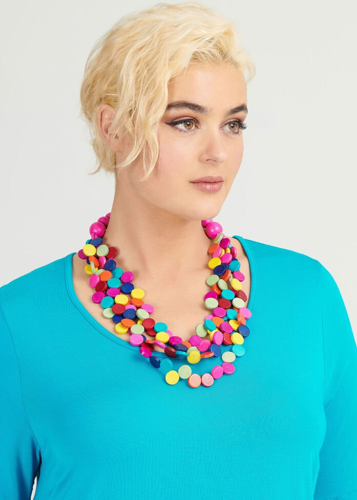 Brightly Beaded Necklace, , hi-res
