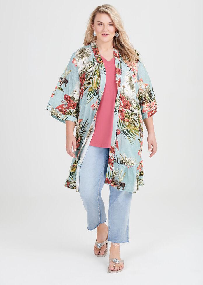 Natural Tropicana Kimono, , hi-res