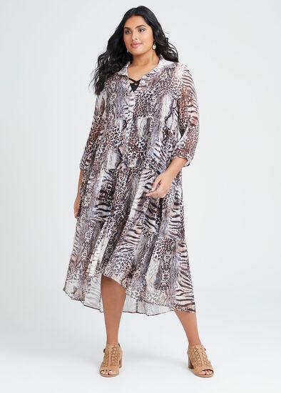 Wild Animal Boho Shirt Dress