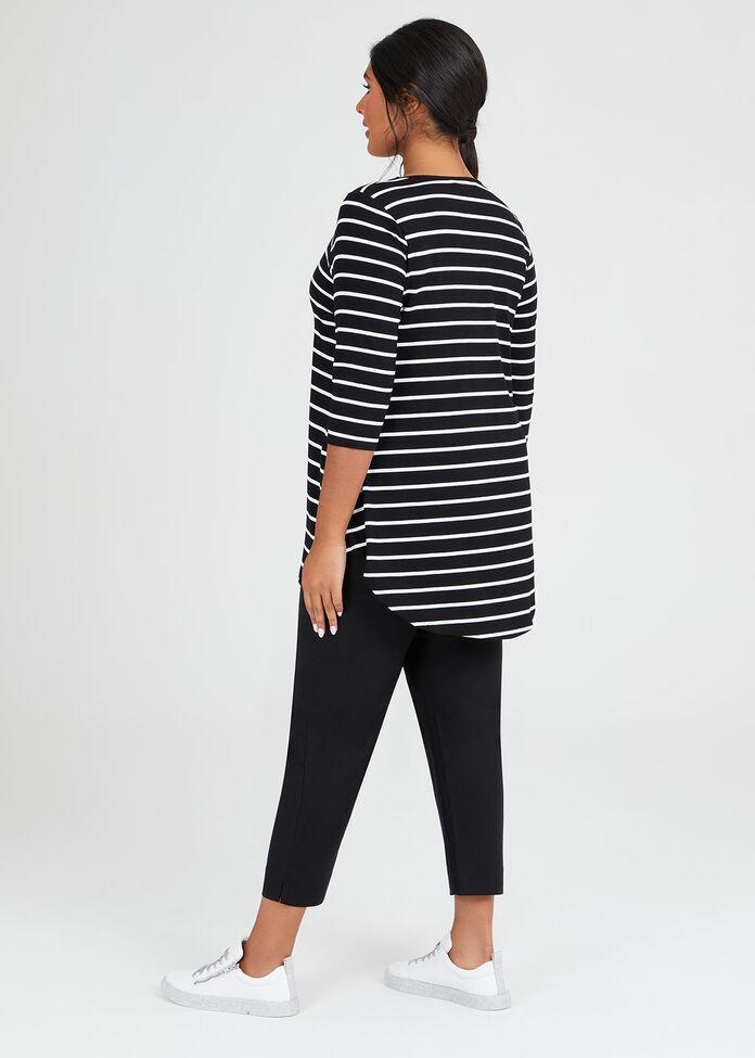 Bamboo Stripe 3/4 Sleeve Top, , hi-res