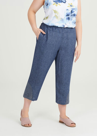 Simple Blues Linen Crop Pant