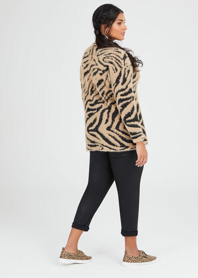 Fluffy Zebra Knit Jumper, , hi-res