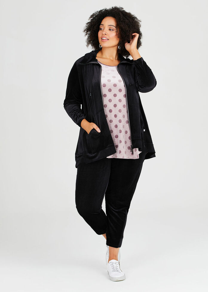Velour Relaxed Lounge Cardigan, , hi-res