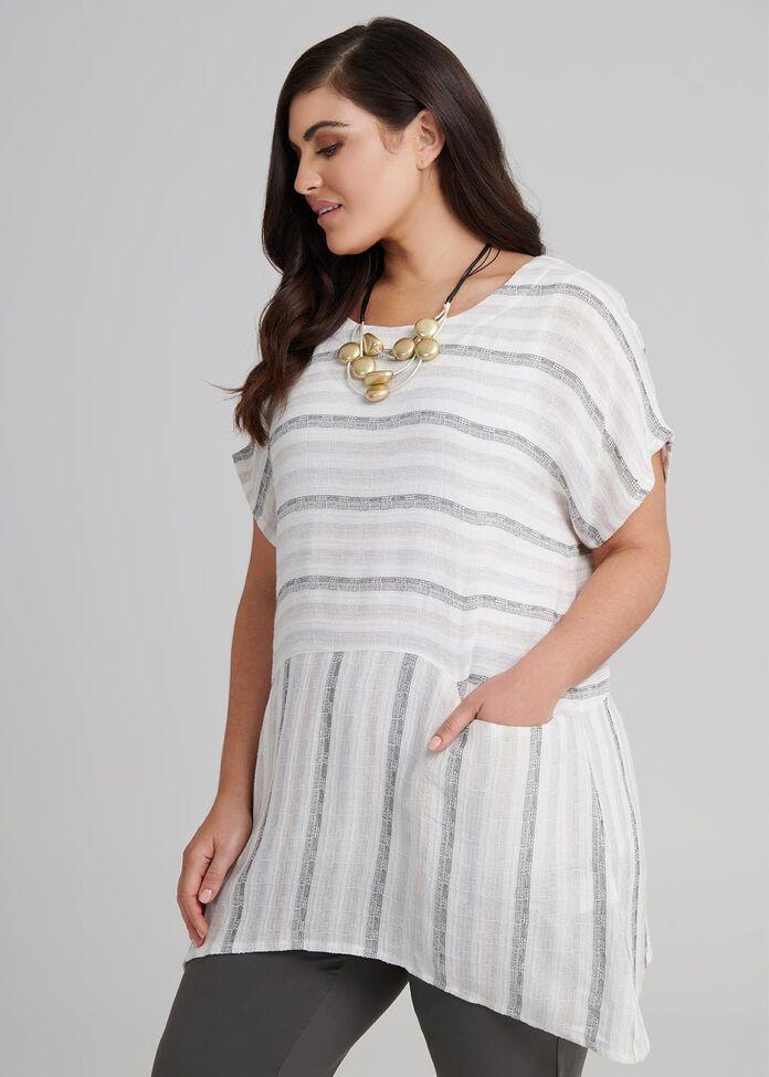 Elle Stripe Linen Tunic, , hi-res