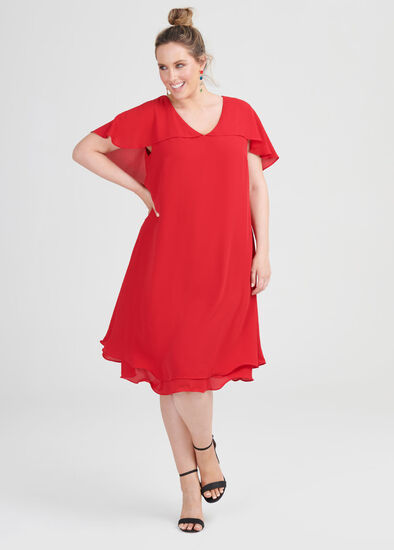 V-neck Drape Sleeve Cocktail Dress