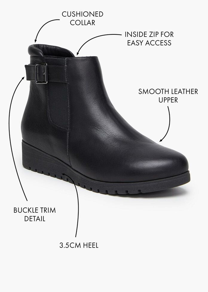 Buckle Leather Boot, , hi-res