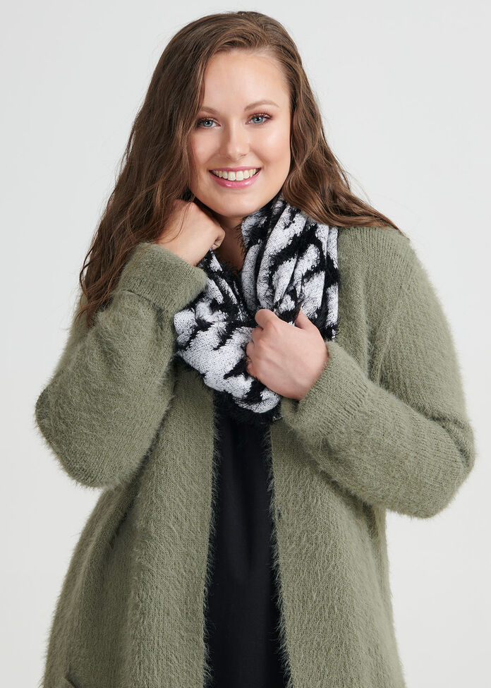 Zebra Fuzzy Knit Snood, , hi-res