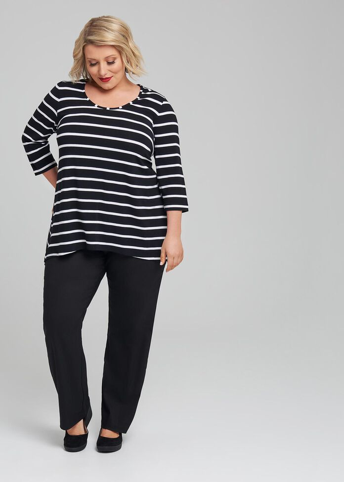 Petite Linear 3/4 Sleeve Top, , hi-res