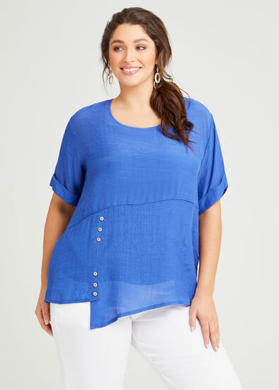 Natural Layered Button Top