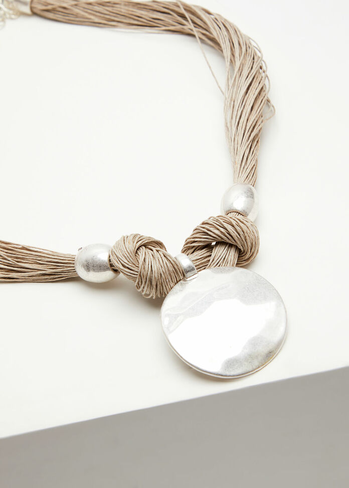 Hammered Pendant Necklace, , hi-res