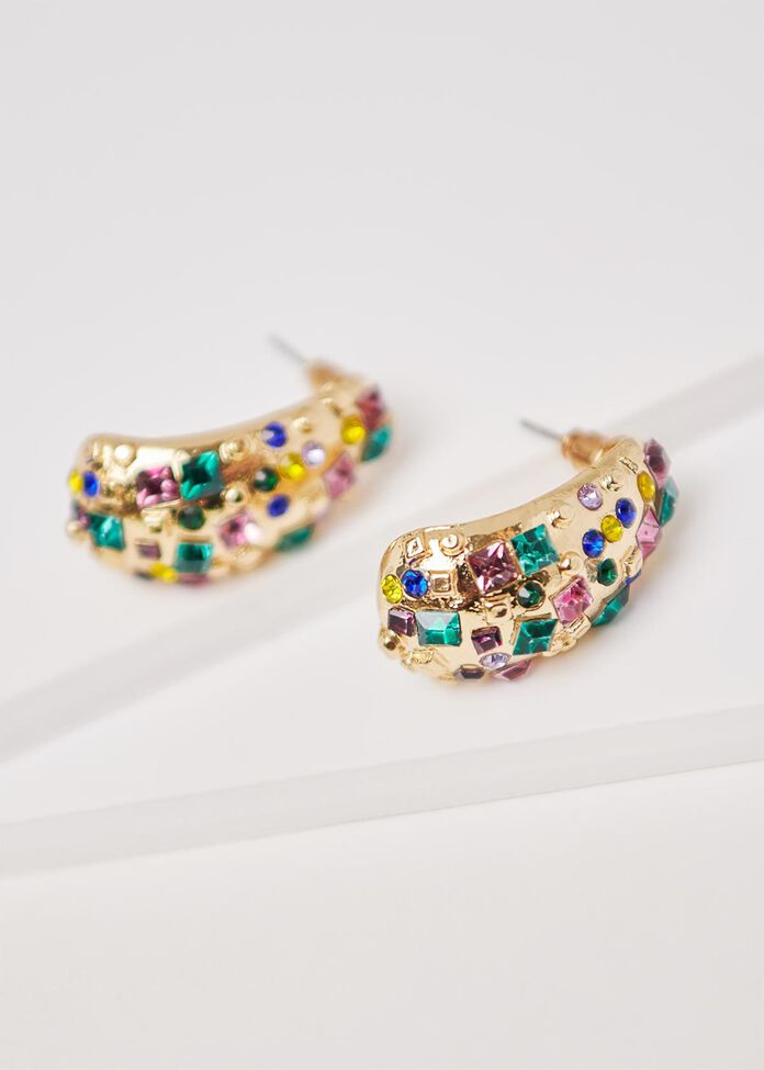 Jewel Pop Hoop Earrings, , hi-res