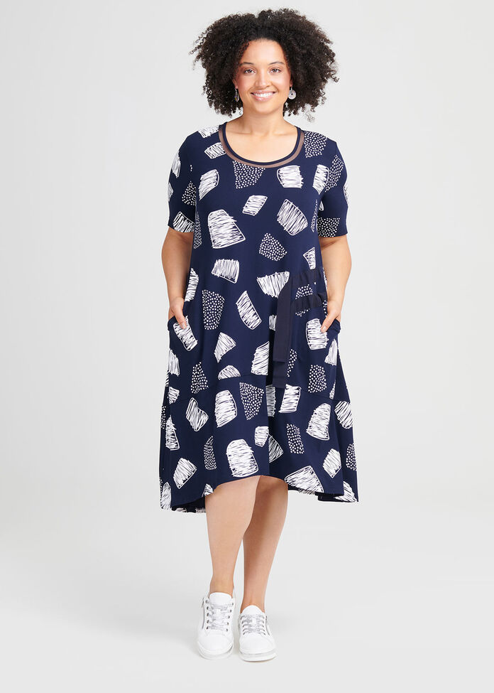 Blue For You Viscose Dress, , hi-res