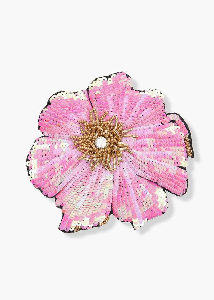 Sequin Flower Brooch, , hi-res