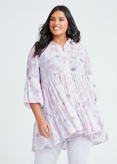 Natural Tiered Floral Shirt