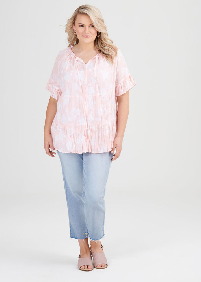 Cotton Boho Floral Top, , hi-res