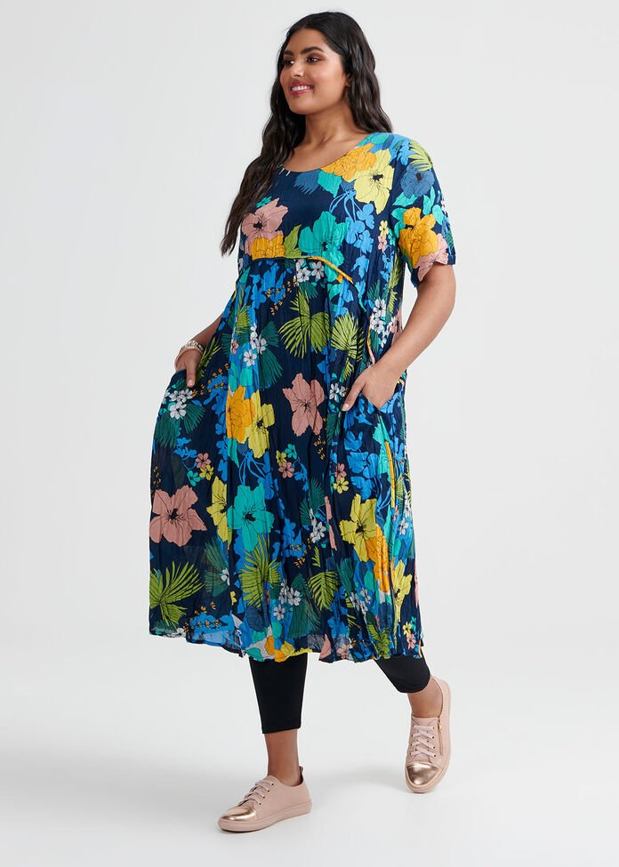 Cotton Floral Dress, , hi-res
