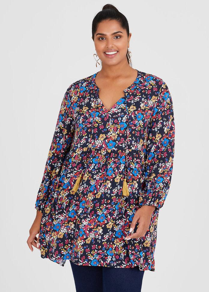 Natural Floral Tunic, , hi-res