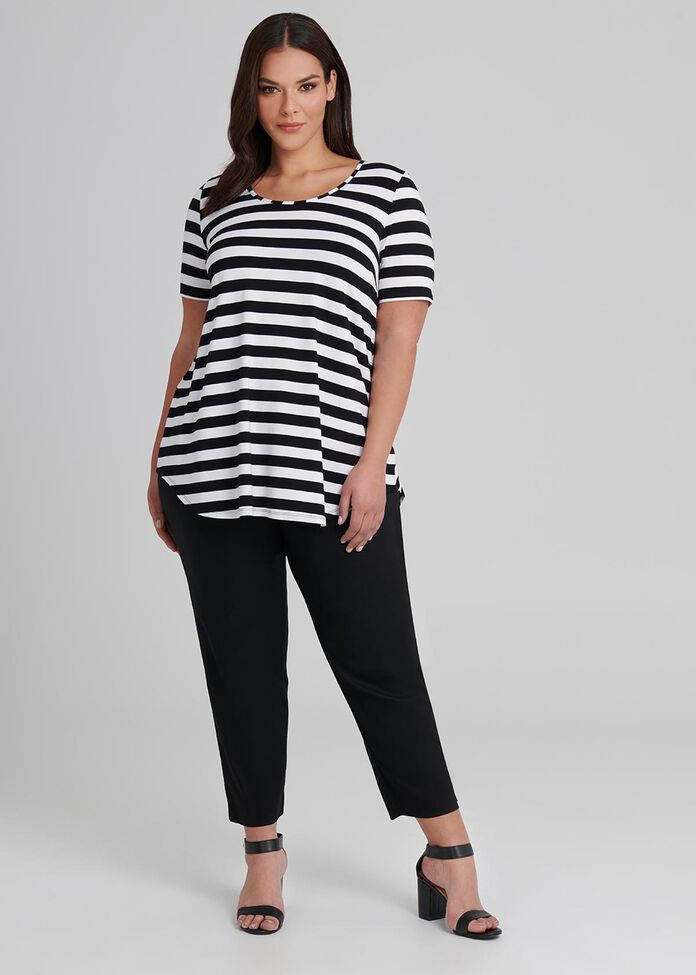 Bamboo Stripe Short Sleeve Top, , hi-res